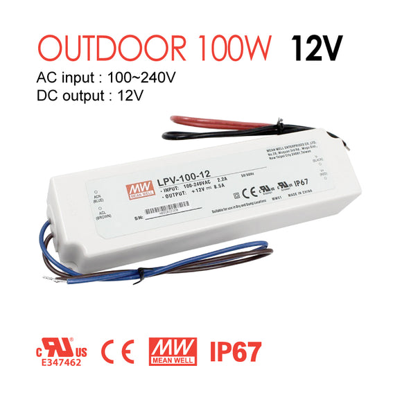 Mean Well LED Switching Power Supply - LPV Series 100W Single Output LED Power Supply - 12V DC
