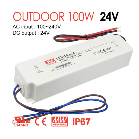 Mean Well LED Switching Power Supply - LPV Series 100W Single Output LED Power Supply - 24V DC