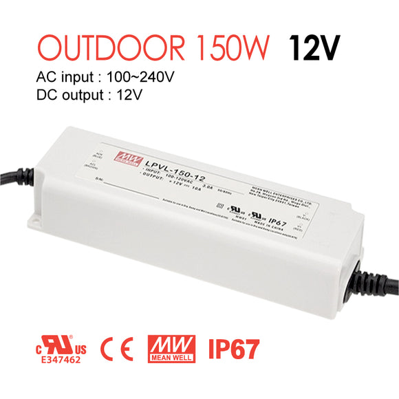 Mean Well LED Switching Power Supply - LPV Series 150W Single Output LED Power Supply - 12V DC