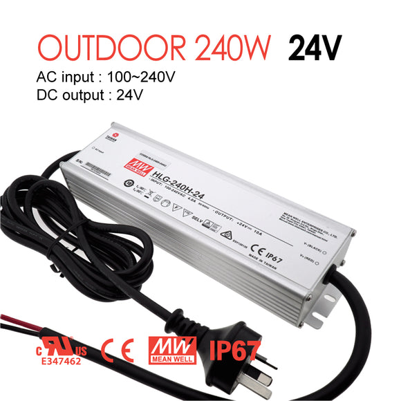 Mean Well LED Switching Power Supply - HLG Series 240W Single Output LED Power Supply - 24V DC