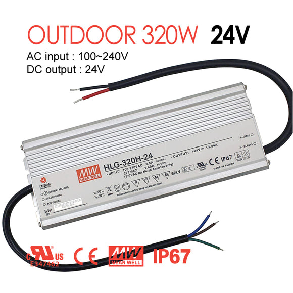 Mean Well LED Switching Power Supply - HLG Series 320W Single Output LED Power Supply - 24V DC