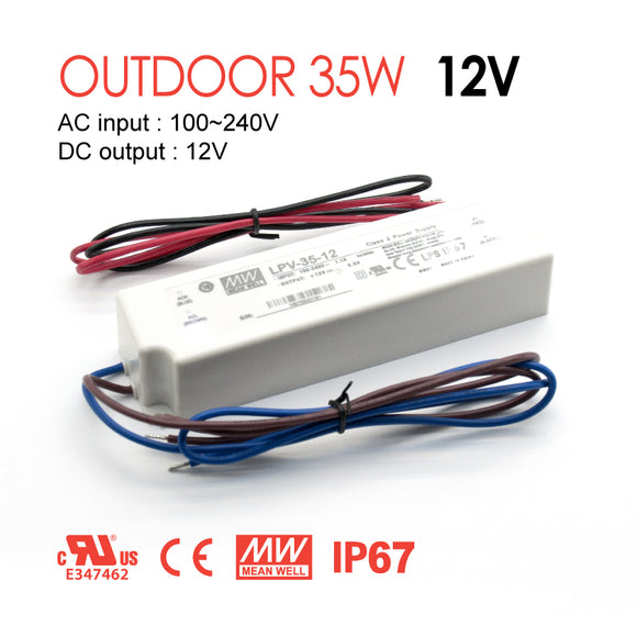 Mean Well LED Switching Power Supply - LPV Series 35W Single Output LED Power Supply - 12V DC