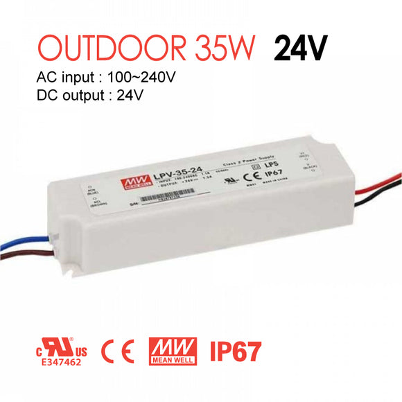 Mean Well LED Switching Power Supply - LPV Series 35W Single Output LED Power Supply - 24V DC