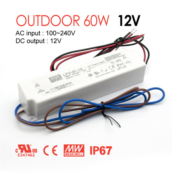 Mean Well LED Switching Power Supply - LPV Series 60W Single Output LED Power Supply - 12V DC