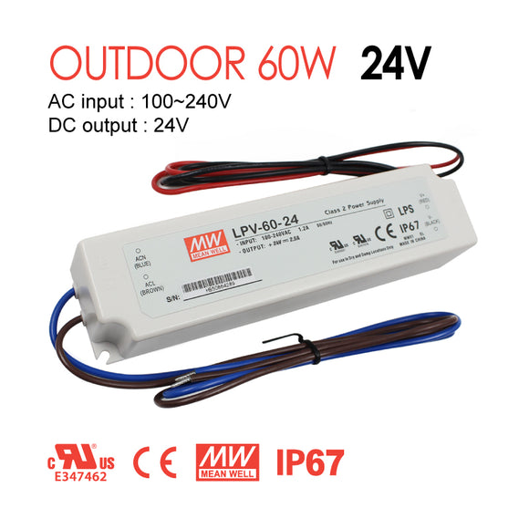 Mean Well LED Switching Power Supply - LPV Series 60W Single Output LED Power Supply - 24V DC