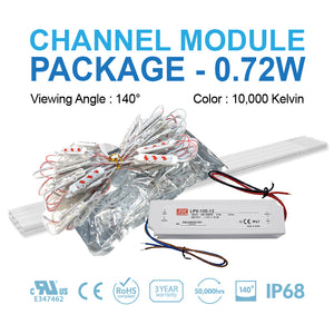 LED Channel Module Package 0.72W 50ft [10,000Kelvin]