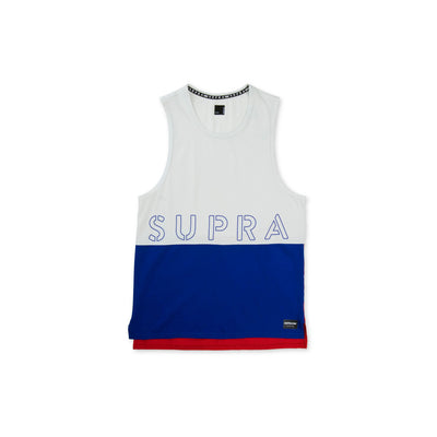 102176-117 | COLOR BLOCK TANK II | WHITE/BLUE/RED