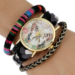 Gnova Platinum Atrapasueno Mexican Fabric Lace Bracelet Tower Butterfly Watch Women Strap Native Ethnic Style Clock magnet A591