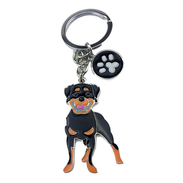 Rottweiler dog alloy metal pendant key chains
