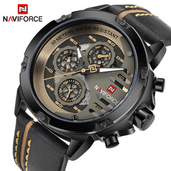Men's Waterproof 24 hour Date Quartz Leather Sport Wrist Watch