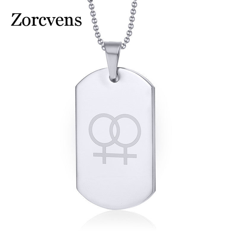 Stainless steel Lesbian gay pride necklaces pendants