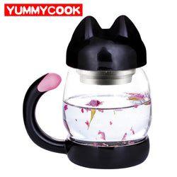 Cute Cat Glass Cup with filter coffee