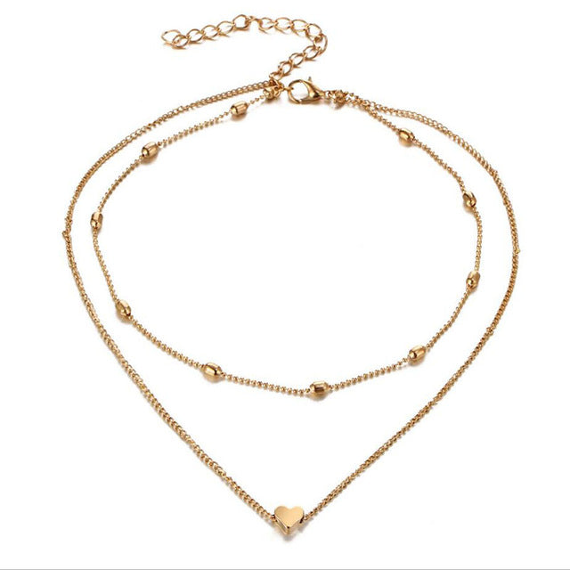 Double Horn Gold Heart Necklace