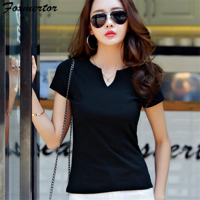 V-Neck Solid Striped Tops Casual T-shirt (Women)