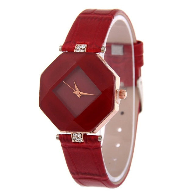 Gem Cut Geometry Crystal Leather Quartz Wristwatch Fashion Dress Watch Ladies