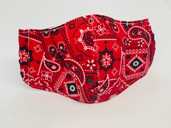 Red Bandana Fitted Face Mask