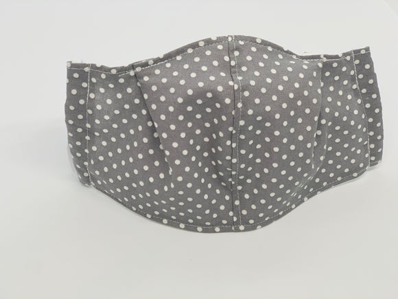Gray Polka Dot Fitted Face Mask