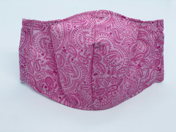 Paisley on Pink Fitted Face Mask