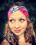 Minute Blossoms and Cherry Red Stripe Combo TURBAN TWIST Headbands - Sweet Stitch Novelties