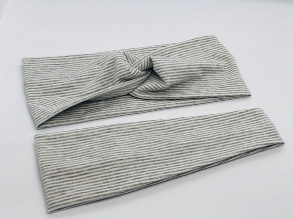 Weathered Heather Gray Stripe Headband-Turban Twist and Yoga Styles | Sweet Stitch Novelties - Sweet Stitch Novelties