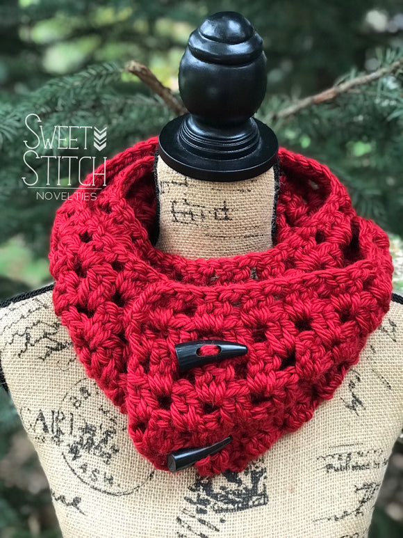 Cherry Red Crocheted Infinity Scarf - Sweet Stitch Novelties