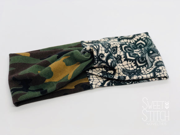 Camo and Faux black Lace on Beige Combo TURBAN TWIST Headbands - Sweet Stitch Novelties