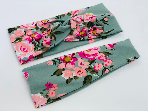 Pink Petals on Green Floral Headband-Turban Twist and Yoga Styles | Sweet Stitch Novelties - Sweet Stitch Novelties