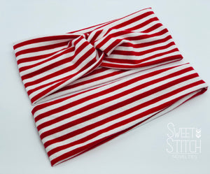 Red and White Striped Headband-Turban Twist and Yoga Styles | Sweet Stitch Novelties - Sweet Stitch Novelties