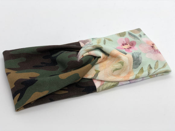 Camo and Floral Combo TURBAN TWIST Headbands - Sweet Stitch Novelties