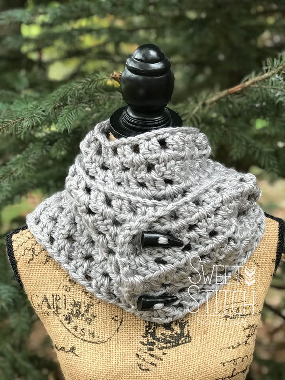 Heather Gray Crocheted Infinity Scarf - Sweet Stitch Novelties