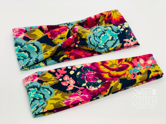 Boho Floral Headband-Turban Twist and Yoga Styles | Sweet Stitch Novelties - Sweet Stitch Novelties