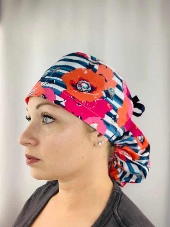 Poppies on Navy Floral Ponytail Scrub Cap
