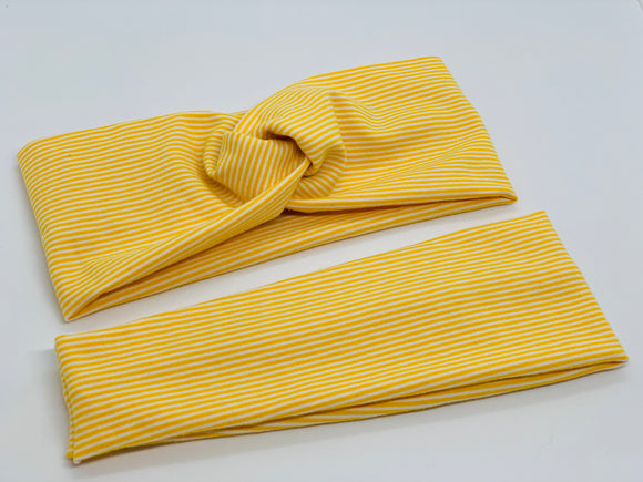 Mustard Mini Stripe Headband-Turban Twist and Yoga Styles | Sweet Stitch Novelties