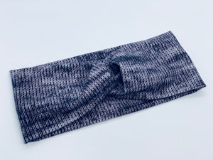 Charcoal Knit Headband-Turban Twist and Yoga Styles  |  Sweet Stitch Novelties
