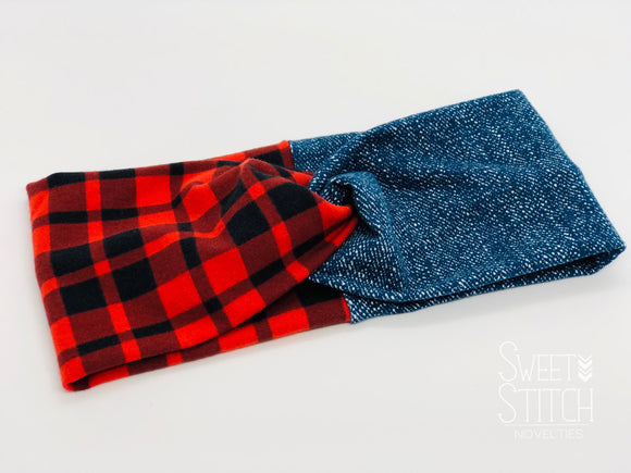Faux Denim and Buffalo Plaid Combo TURBAN TWIST Headbands - Sweet Stitch Novelties