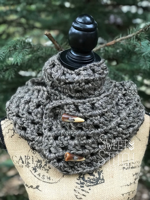 Pewter Crocheted Infinity Scarf - Sweet Stitch Novelties