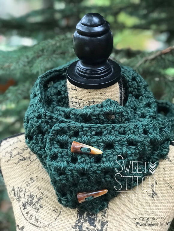 Hunter Green Crocheted Infinity Scarf - Sweet Stitch Novelties