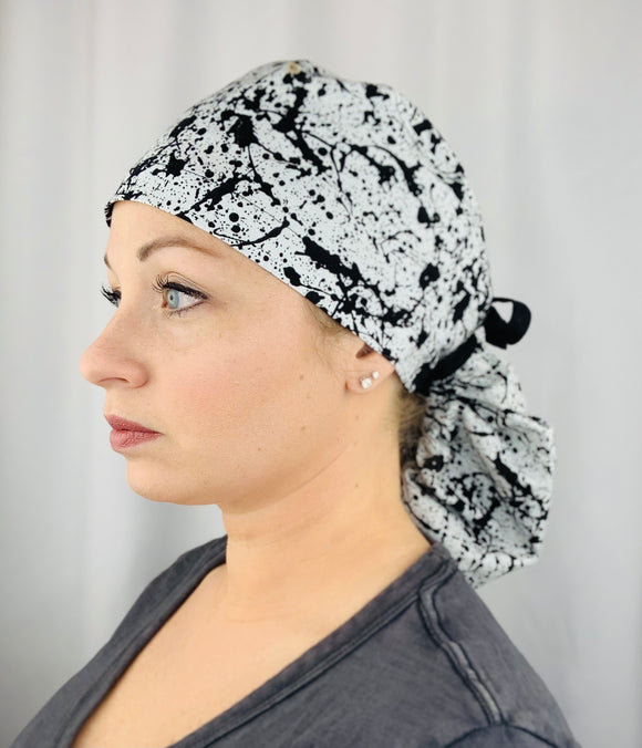 Paint Splatter Ponytail Scrub Cap