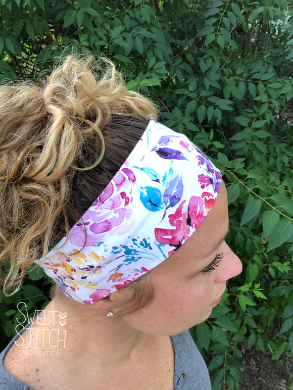 Watercolor Floral Headband-Turban Twist and Yoga Styles | Sweet Stitch Novelties
