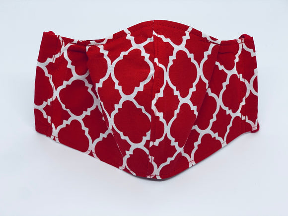 Red Quatrefoil Fitted Face Mask