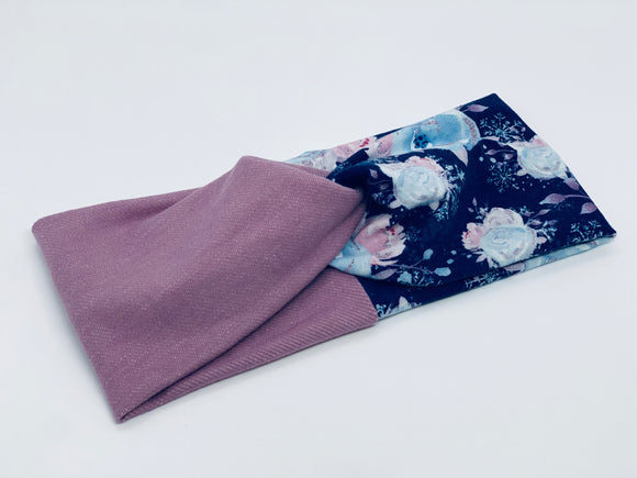 Powdered Blue Floral and Rose Linen Combo TURBAN TWIST Headband