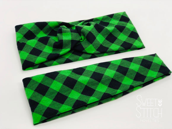 Green Plaid Headband-Turban Twist and Yoga Styles  |  Sweet Stitch Novelties - Sweet Stitch Novelties