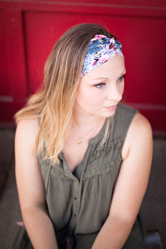 Rosehip Blooms Headband-Turban Twist and Yoga Styles | Sweet Stitch Novelties - Sweet Stitch Novelties