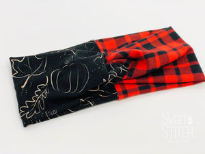 Pumpkin and Red Buffalo Combo TURBAN TWIST Headbands - Sweet Stitch Novelties