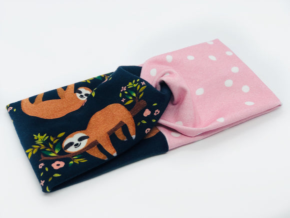 Sloths and Dots Combo TURBAN TWIST Headbands - Sweet Stitch Novelties