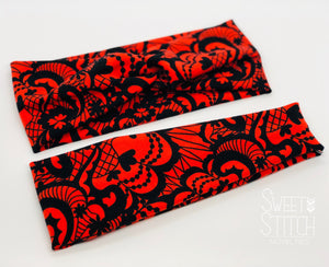Faux Lace Red Headband-Turban Twist and Yoga Styles | Sweet Stitch Novelties - Sweet Stitch Novelties