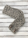 Cream and Black Fleck Crocheted Infinity Scarf - Sweet Stitch Novelties