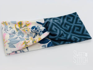 Wild Posy and Greek Skouro Combo TURBAN TWIST Headbands - Sweet Stitch Novelties
