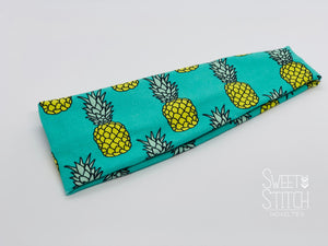 Pineapples on Teal Headband-Turban Twist and Yoga Styles | Sweet Stitch Novelties l - Sweet Stitch Novelties