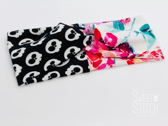 Skulls and Floral Combo TURBAN TWIST Headbands - Sweet Stitch Novelties
